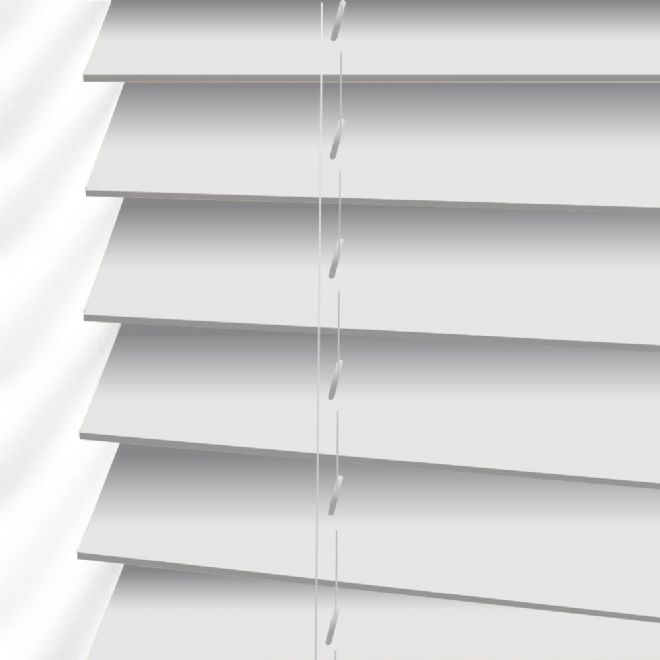 Faux Wood Venetian Blinds in True White - Just Blinds